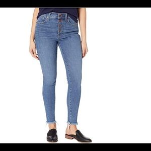 """Madewell 10"""" High-Rise Skinny Jeans Button Fly NWT"""